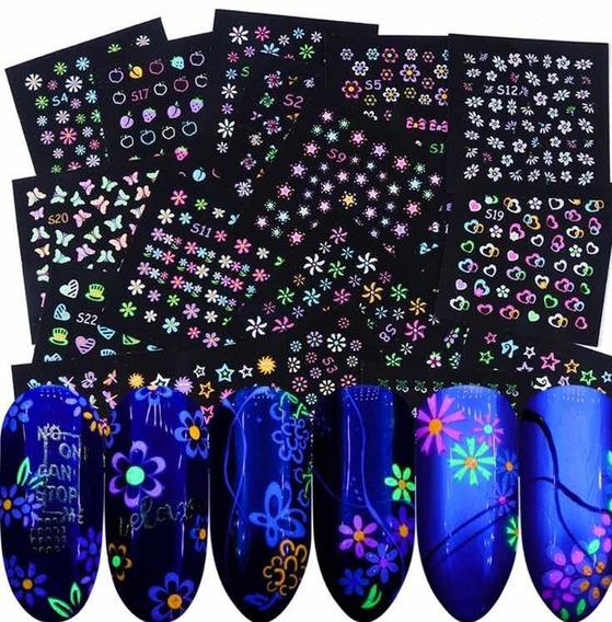 Pegatinas Fluorescentes Uñas Decoración 24 Piezas