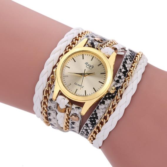 Relógio Feminino Barato Leopard Couro Lindo Analogico