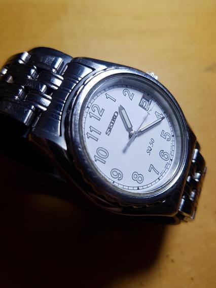 Relógio Seiko Quartz Sq50 Branco/prata