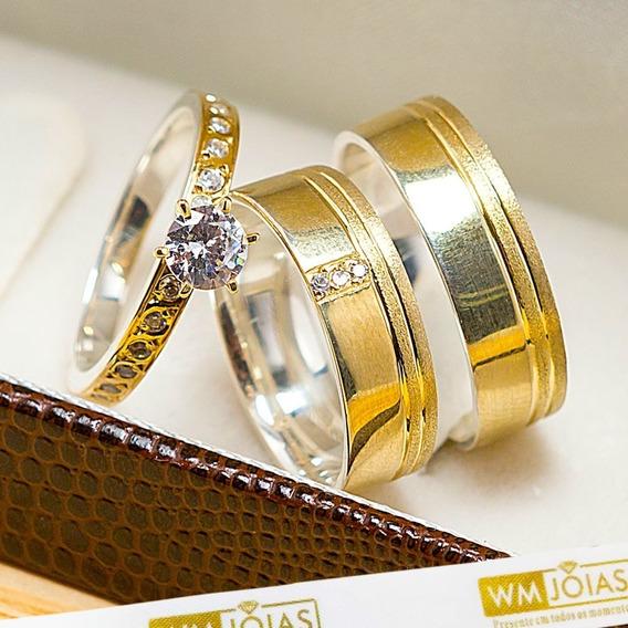 Aliança De Casamento Ouro E Prata + Anel Solitário Wm10205