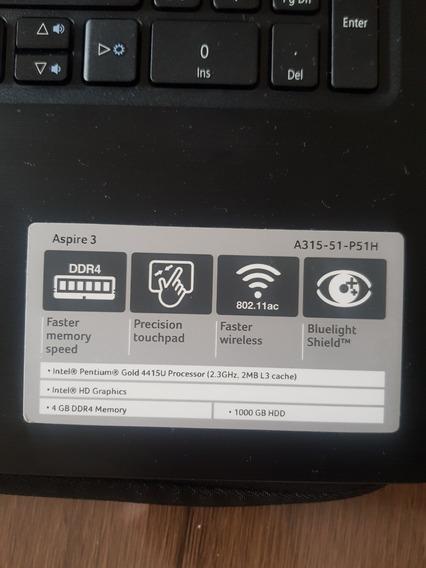 Notebook Acer Aspire 3 A315-51-p51h Intel Pentium Gold 15