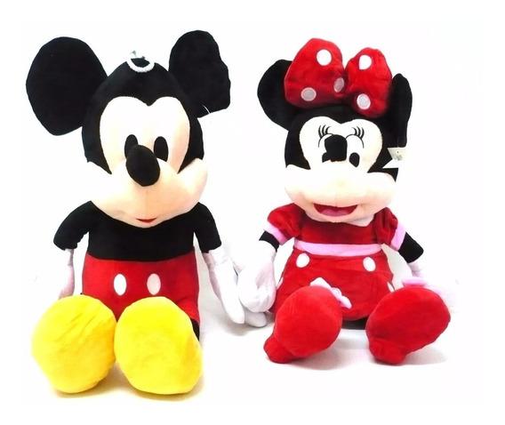 2 Pelucias, Mickey E Minnie Laço Vermelha Musicais