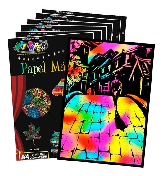 Papel Magico Preto / Colorido Para Fazer Desenhos - 6 Pacote