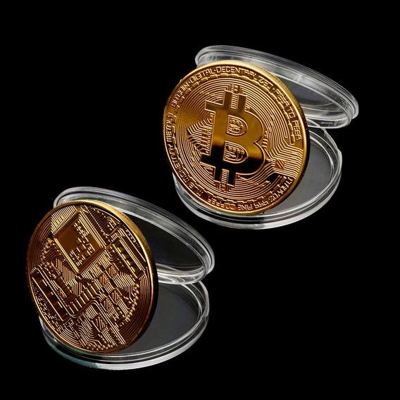 Kit C/ 2 Moedas Física Bitcoin C/ Cápsula