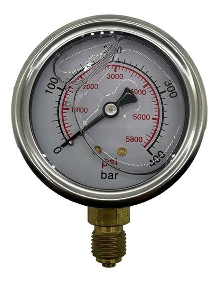 Manometro Pressão Hidráulico 400 Bar Vertical R1/4 Bsp