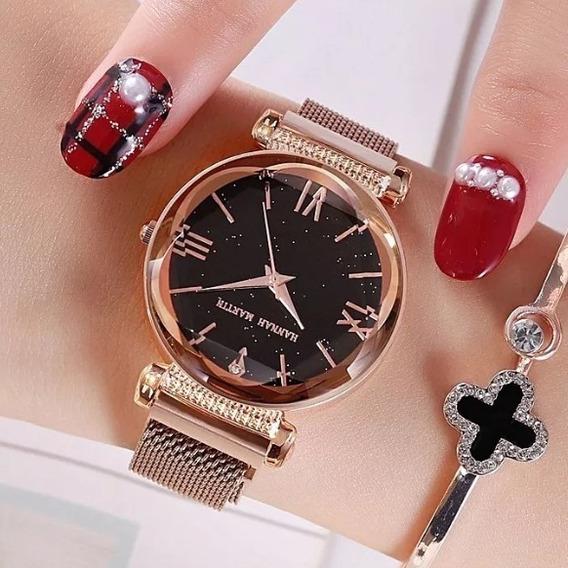 Relógio De Pulso Feminino Dourado Céu Estrelado Imã Promoção