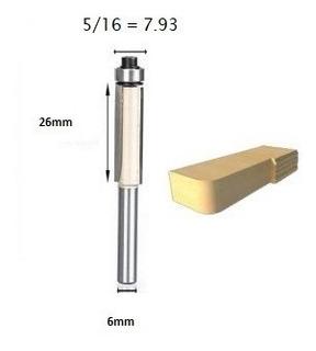 Fresa Reta C/ Rolamento 6mm X 5/16 P/ Rebaixo / Formica