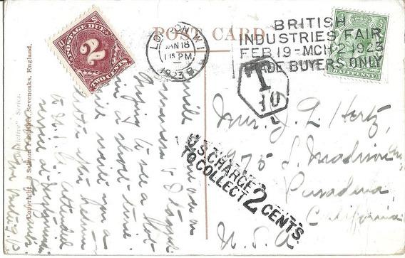 Postal Gran Bretaña Circulada A Usa Tasada Postage Due 1923