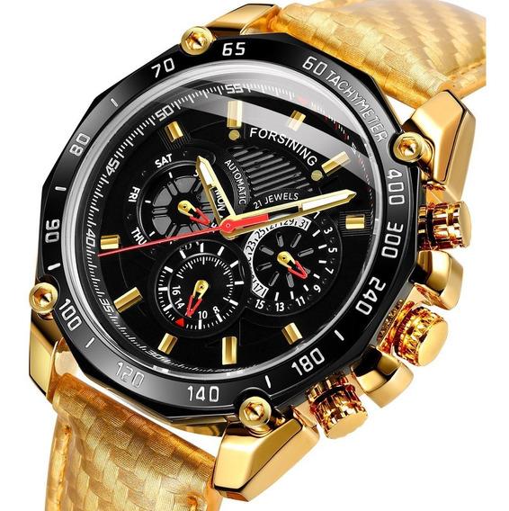 Reloj Hombre Forsining Automático Fecha Piel Sumergible 30m