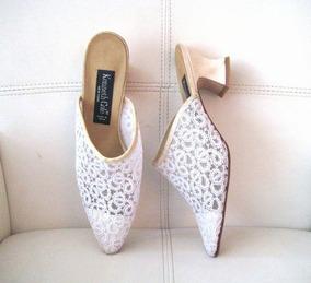 Zapato Sin Talon, Blanco/encaje, Kenneth Cole, Talla 38