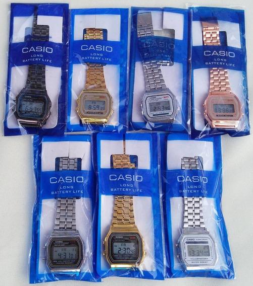 Kit Relógios Digital Casio Aço Vintage Unissex Atacado ( 10 Unidades + 1 De Brinde )
