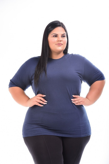 Kit 2 Camisetas Plus Size Feminina 100% Algodão G1 Ao G3