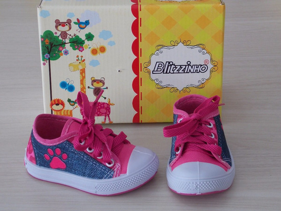 Tênis Menina Blitzzinho Jeans Pink Lançamento Cód: 577