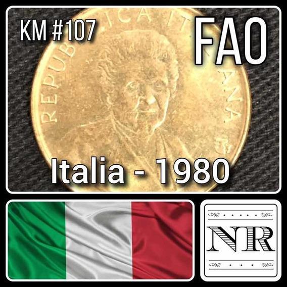 Italia - 200 Liras - Año 1980 - Km# 107 - Fao - Mujer