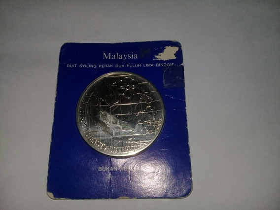 Moneda 25 Ringgit Malasia 1977 De Plata En Blister De 35 Grs