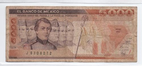 Imagen 1 de 2 de Mexico 5000 Pesos 1989