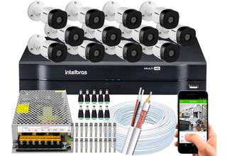 Kit Cftv 12 Câmeras Segurança Intelbras 1010 Dvr 16 Ch Multi