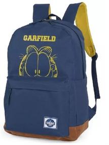 Mochila De Costa Garfield Azul Escolar Juvenil