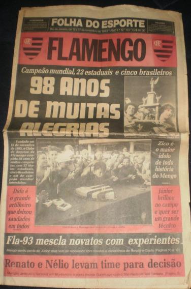 Jornal Folha Do Esporte Nov-1993 98 Anos De Flamengo