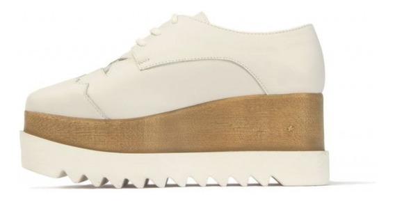 Zapatilla Plataforma Cuero Blanca.