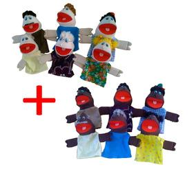 Fantoches Família Branca + Família Negra - Kit Com 12pçs