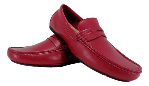 Imagen 1 de 3 de Mocasines De Hombre2030-2 Rojo Zapato