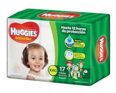 34 Pañales Huggies Active Sec Mega Xxg 2 Packs X17