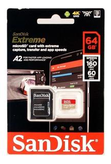 Memoria Micro Sd Sandisk Xtreme 64gb 160mbs A2 U3 V30 Cod610
