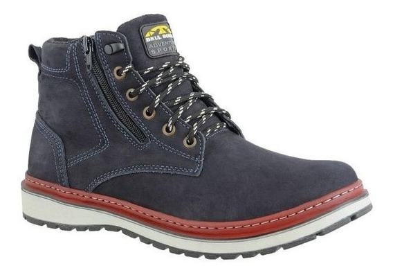 Bota Masculina Casual Zíper Lateral Em Couro Bell Boots