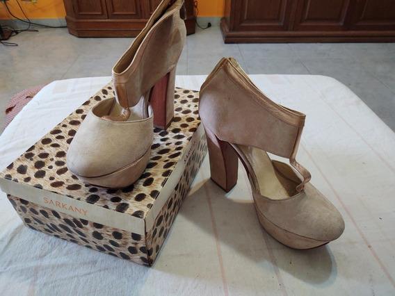 Zapato Abierto Rosa Gamuzado Talle 40