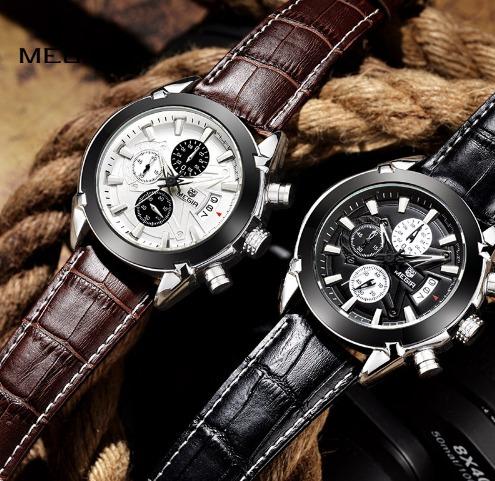 Relógio De Quartzo Masculino De Couro Estiloso Megir