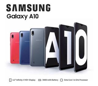 Samsung A 10 Smartphone Con Forro Antigolpe Y Vidrio. Nuevo