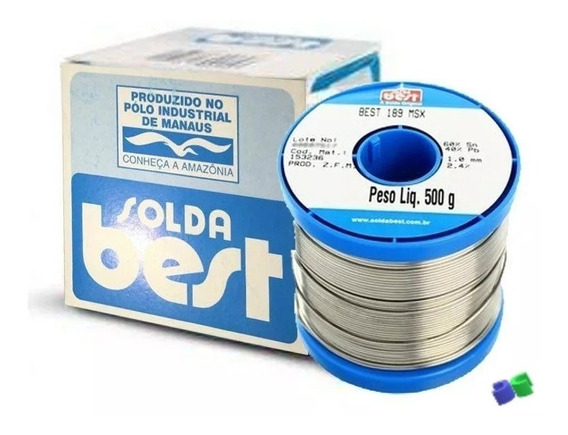 Solda Best Estanho - 189msx10 - 60x40 - Azul - 500g - 1mm