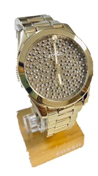 Lindo Relógio Fossil Dourado Com Cristais Swarovski
