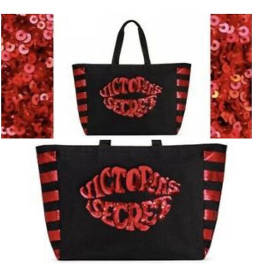 Bolso Victoria Secret Negra Y Colorada C/cierre Original Usa