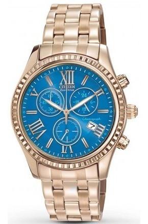 Relógio Citizen Dourado Eco-drive Crono Most. Azul Tz20171a