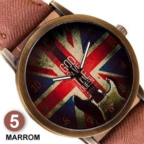Relógio Vintage Bandeira Da Inglaterra Pulseira Tecido Cores