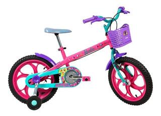 Bicicleta Infantil Aro 16 Barbie Com Rodinhas E Cesto Caloi