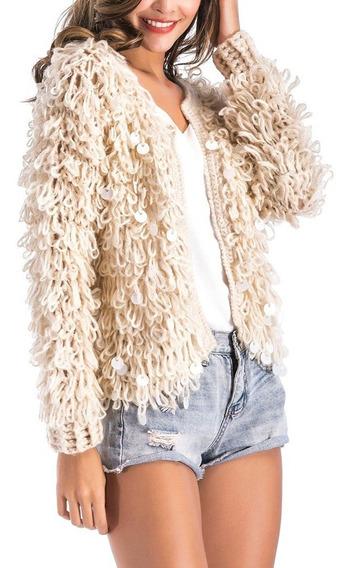 Suéter Piel Imitación Caliente & Moda Para Mujeres Invierno