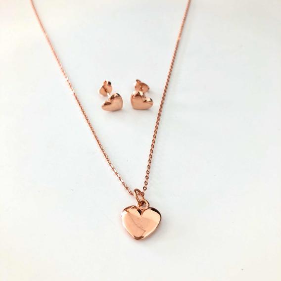 Set Collar Y Aretes Corazón Chapa De Oro Rose Gold Regalo
