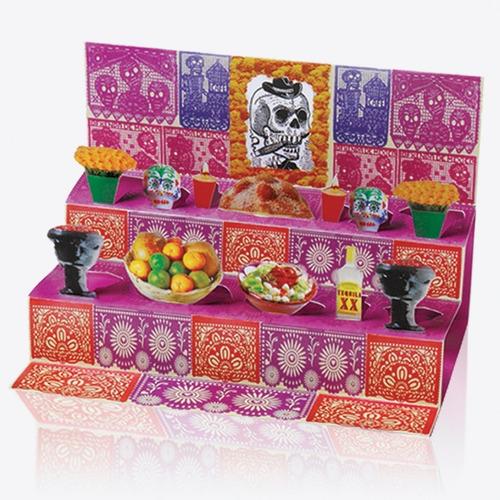 Imagen 1 de 5 de Postal Popup Altar Ofrenda Del Día De Muertos  - 25 Pack