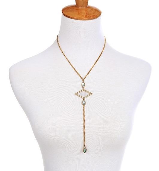 Collar Largo Geometrico Bisuteria Fina Accesorio Mujer