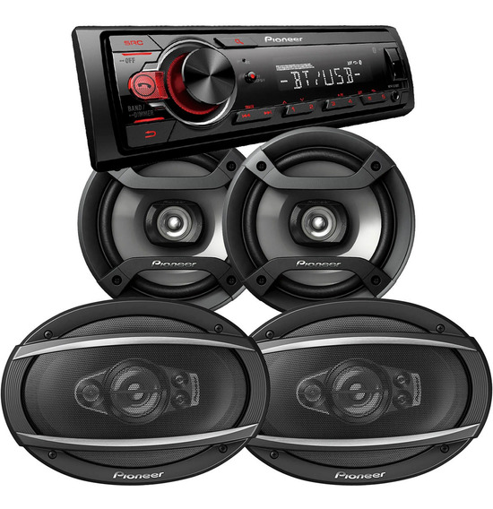 Combo Pioneer Estereo 215 Bluetooth + Parlantes 6x9 + 6,5 6