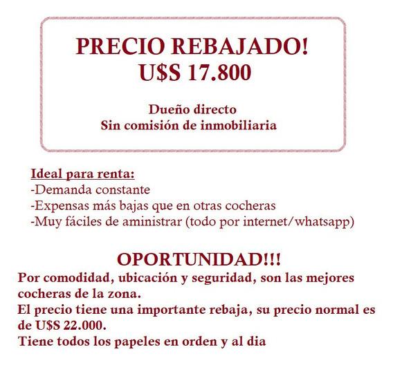 Dueño Vende - Oportunidad!! Excelente Cochera Seguridad 24hs