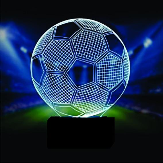 Luminaria Acrilico Led 3d, Bola De Futebol 16 Cores