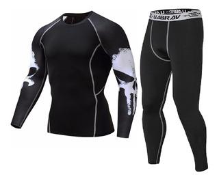 Conjunto Segunda Pele Camisa Térmica Calça Punisher Compress