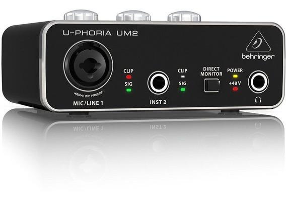 Placa De Audio+cabo Xlr Interface Behringer U-pho Um2
