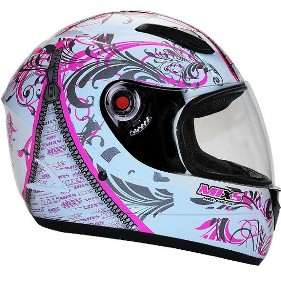 Capacete Feminino Mixs Racing Girls Branco E Rosa 18523