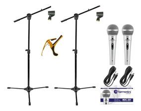 2 Microfones Profissional+2 Pedestais+2cachimbos+1capotraste