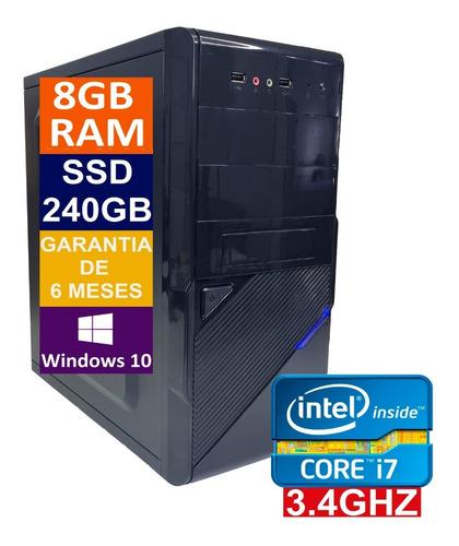 Imagem 1 de 5 de Pc Computador Cpu Intel Core I7 + Ssd 240gb, 8gb Memória Ram